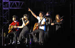 Concierto de rock de los hermanos de Jonas Fotografía de archivo