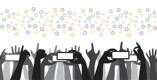 Concierto de rock móvil de la grabación de la muchedumbre que anima  stock de ilustración