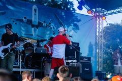 Concierto del artista de rap ucraniano Yarmak May 27, 2018 en el festival en Cherkassy, Ucrania foto de archivo