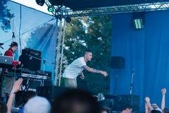 Concierto del artista de rap ucraniano Yarmak May 27, 2018 en el festival en Cherkassy, Ucrania Entrada libre En el aire abierto fotos de archivo