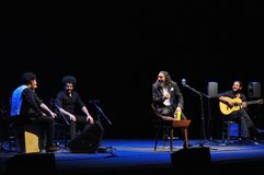 Concierto del cantante del flamenco de Diego el Cigala en Gijón Foto de archivo libre de regalías