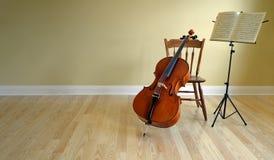 Concierto o decreto del violoncelo Fotos de archivo libres de regalías