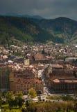 Brasov市中心鸟瞰图  库存照片