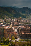 Aerial view of Brasov city centre stock photo