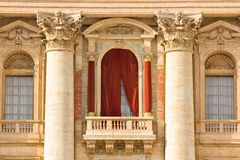 Conclave balcony  in St. Peter's Basilica in the Vatican Royalty Free Stock Photo