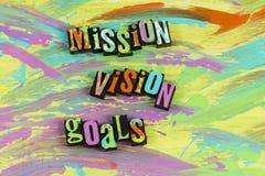Conclusão dos objetivos da visão da missão bem sucedida imagens de stock royalty free