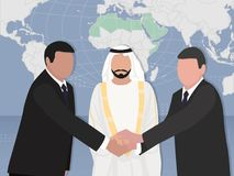 Conclusion of the contract of the deal between representatives of Arab and European countries vector illustration