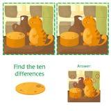 Conclusion de la tâche éducative de différences pour les enfants préscolaires avec le chat Photos libres de droits