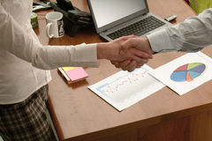 Conclusion of a deal and happy business partners royalty free stock images