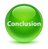 Conclusion glassy green round button Royalty Free Stock Images