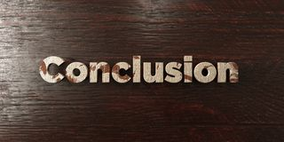 Conclusion - grungy wooden headline on Maple  - 3D rendered royalty free stock image. This image can be used for an online website banner ad or a print Royalty Free Stock Photos