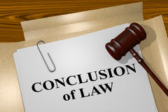 Conclusion of Law - legal concept. 3D illustration of CONCLUSION of LAW title on legal document Royalty Free Stock Images