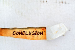 Conclusion title on old paper. Conclusion title on old grunge torn paper Stock Photos