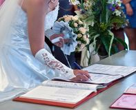 The conclusion of the wedding union Stock Photos