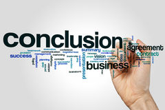 Conclusion word cloud concept on grey background.  Stock Photography