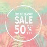 Conclusione della vendita di stagione fino al vettore dell'insegna di 50 per cento, foglie di palma con il concetto bianco del co illustrazione vettoriale