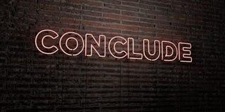 CONCLUYA - señal de neón realista en fondo de la pared de ladrillo - la imagen común libre rendida 3D de los derechos libre illustration