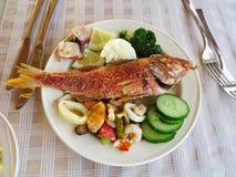 Concombre cuit de calmar de moule de poissons et de fruits de mer Image libre de droits