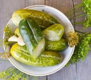 Concombre et aneth salés Photographie stock libre de droits