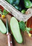 Concombre mûr de coupe sur la planche à découper Photos stock