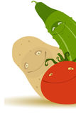 Concombre, pomme de terre, tomate Photos stock