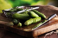 Concombres frais et coupés en tranches Concombres coupés en tranches sur une planche à découper Images stock