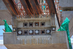 Conconcretec piles in a construction area Royalty Free Stock Image