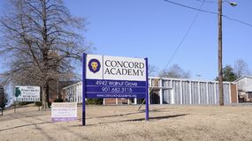Concord Academy, Memphis, TN. Concord Academy is a private, state approved, non-profit school Grades 6-12 for students with special needs such as learning Royalty Free Stock Photo