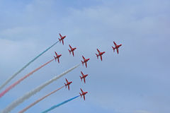 The Concord formation by the Red Arrows Stock Photos