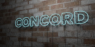 CONCORD - Glowing Neon Sign on stonework wall - 3D rendered royalty free stock illustration Stock Photos