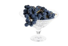 Concord grapes in crystal bowl Royalty Free Stock Image