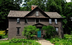 Concord, MA: Louisa May Alcott's Orchard House. Orchard House, home to Louisa May Alcott from 1858 to 1877 and where she wrote her famed novel Little Women, in stock photo