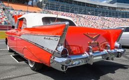 1957 Chevy Bel Air. CONCORD, NC - April 5, 2018: A 1957 Chevy Bel Air convertible automobile on display at the Pennzoil AutoFair Classic Car Show at Charlotte Stock Photography