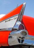1957 Chevy Bel Air. CONCORD, NC - April 5, 2018: Closeup of a 1957 Chevy Bel Air tail fin on display at the Pennzoil AutoFair Classic Car Show at Charlotte Motor Royalty Free Stock Photos