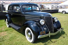 1936 Ford. CONCORD, NC - April 8, 2017:  A 1936 Ford automobile on display at the Pennzoil AutoFair classic car show held at Charlotte Motor Speedway Royalty Free Stock Photography