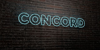 CONCORD -Realistic Neon Sign on Brick Wall background - 3D rendered royalty free stock image Stock Photos