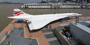 Concorde. The Concorde airplane in New York. Famous tourist attraction at The USS Intrepid museum Royalty Free Stock Photos