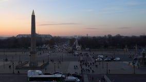 Concorde Square bij zonsondergang in Parijs, Frankrijk stock videobeelden