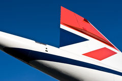 Concorde tail fin. Against blue sky Stock Photos