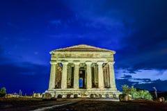 Concordia古色古香的希腊寺庙在寺庙谷,阿哥里根托,西西里岛,意大利的 库存图片