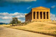 Concordia寺庙希腊废墟  免版税图库摄影