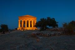 Concordia-Tempel in archäologischem Park Agrigents lizenzfreie stockbilder
