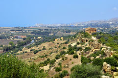 Concordia Temple and Agrigento. Concordia Temple in the Valley of temples and the city of Agrigento, Sicily, Italy stock images