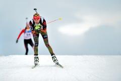Concorrente di biathlon dello sci Fotografie Stock Libere da Diritti