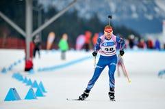 Concorrente di biathlon dello sci Fotografia Stock
