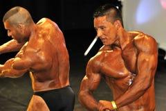 Concorrente masculino do halterofilismo que mostra sua pose da caixa Imagem de Stock Royalty Free