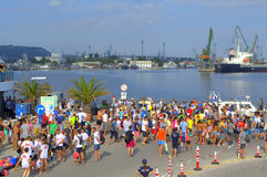 Concorrentes da maratona de Galata-Varna no porto Varna Fotos de Stock Royalty Free