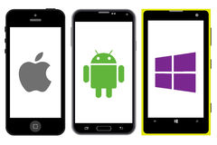 Concorrenza degli Smartphones Fotografie Stock