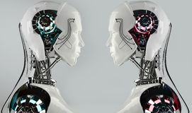 Concorrenza degli uomini del android del robot Fotografie Stock Libere da Diritti