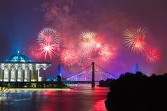 Concorrenza 2013 dei fuochi d'artificio di Putrajaya Immagini Stock Libere da Diritti